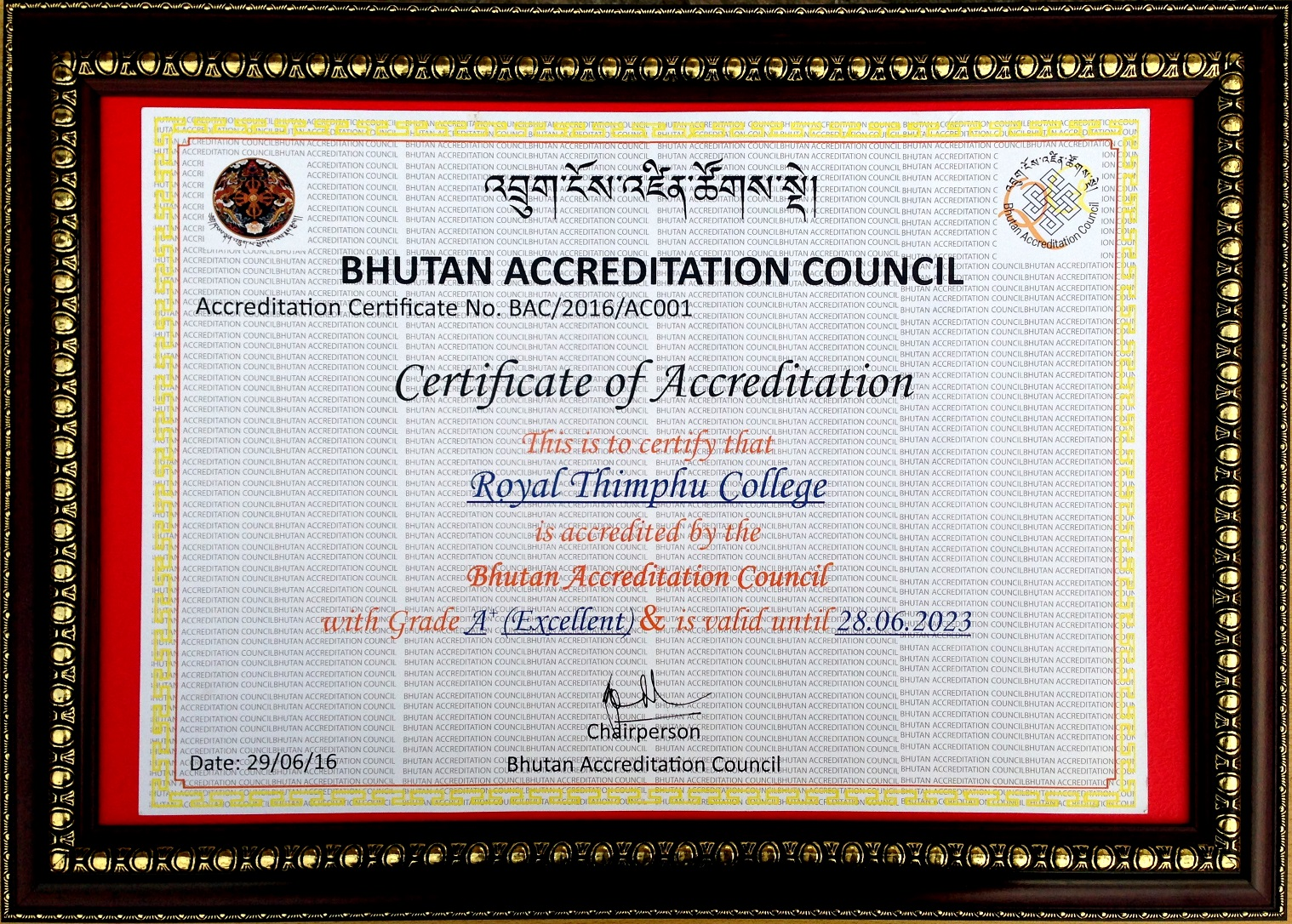 RTC BAC Accreditation Certificate